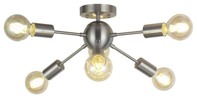 6-Light Sputnik Ceiling Light Brushed Nickel.