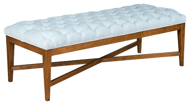 Brayton Velvet Bench, Ice Blue. -1