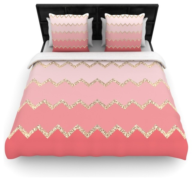 monika strigel avalon coral ombre pink chevron duvet cover contemporary duvet covers and. Black Bedroom Furniture Sets. Home Design Ideas