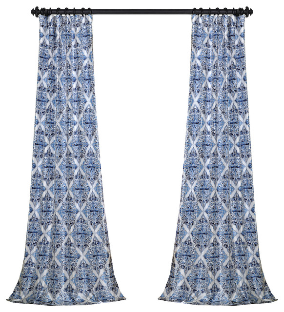 "Tiera Printed Fauxsilk Taffeta Blackout Single Curtain, Blue, 50""x84""."