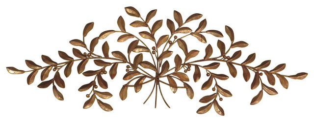 Large Gold Olive Branch Wall Iron Metal Plaque Leaf Tree Art