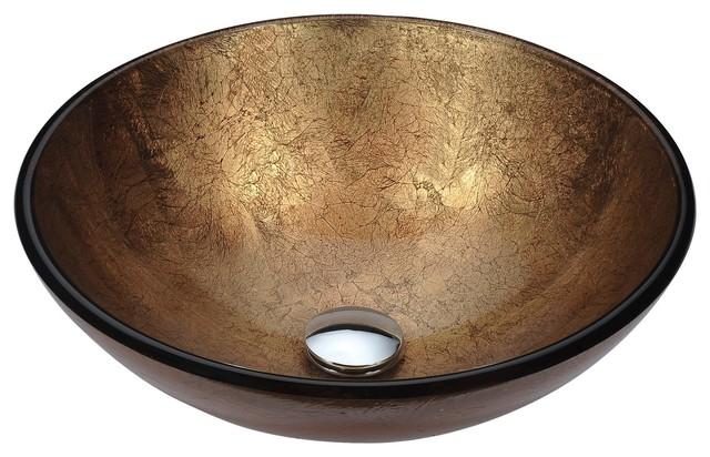 Posh Series Deco-Glass Vessel Sink, Celestial Earth