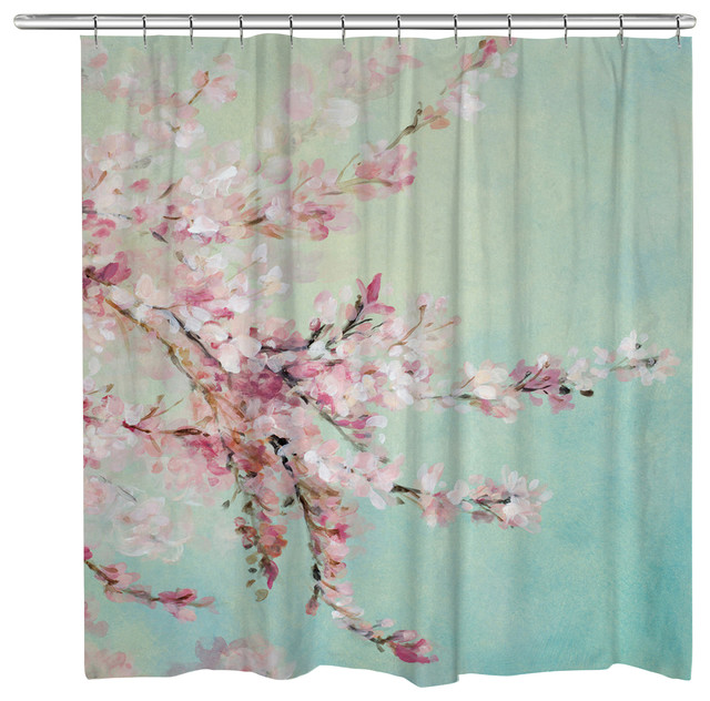 Laural Home Cherry Blossoms Shower Curtain - Contemporary - Shower ...