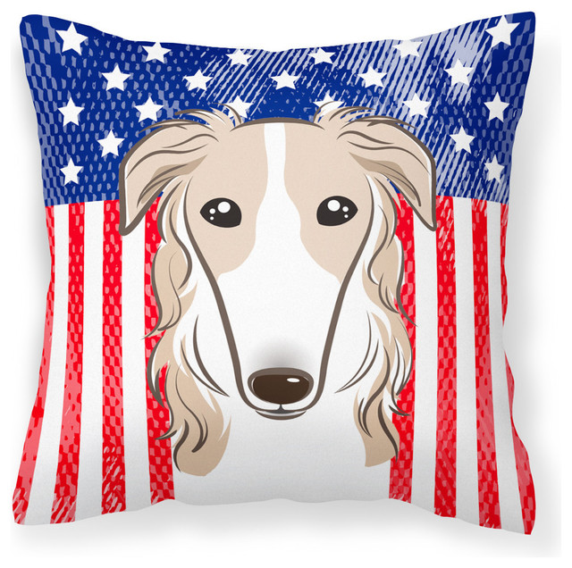 All Modern Outdoor Pillows : Caroline's Treasures - American Flag and Borzoi Fabric Decorative Pillow & Reviews Houzz