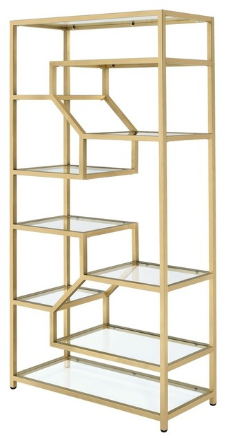 Acme Lecanga Bookshelf, Clear Glass And Gold.
