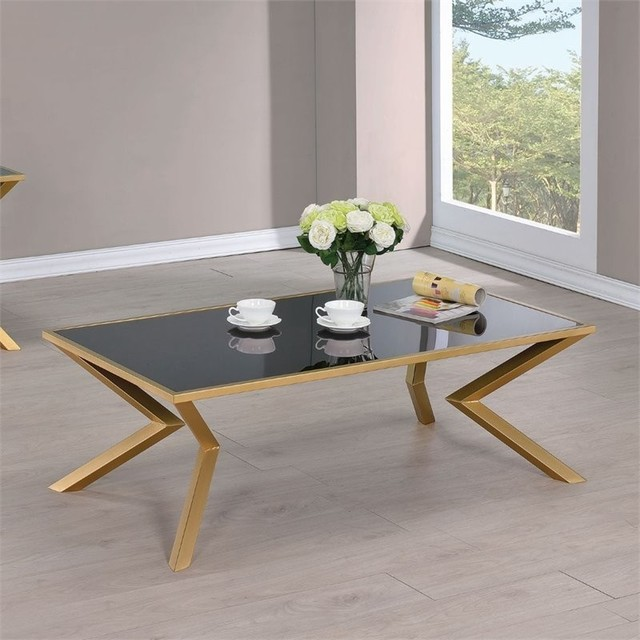 Superbe Coffee Table, Black Glass/Brushed Brass