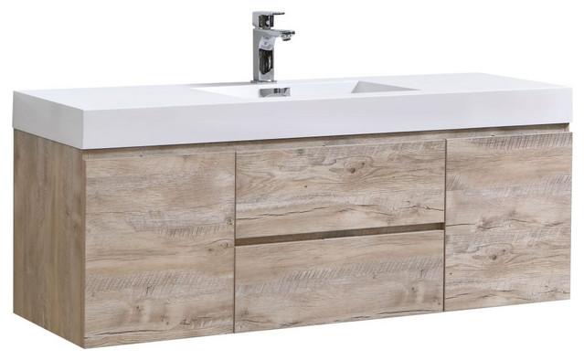 "Bliss 60"" Single Sink Wall Mount Bathroom Vanity, Nature Wood"