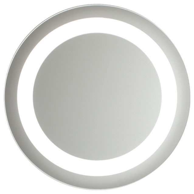 large circular lighted mirror