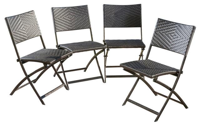 GDF Studio Jason Outdoor Brown Wicker Folding Chairs, Set Of 4