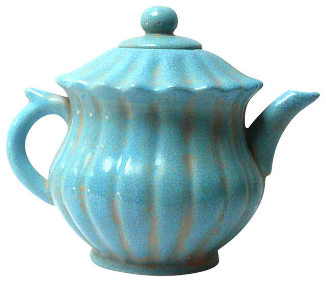 Chinese Blue Crackle Ceramic Teapot - Contemporary