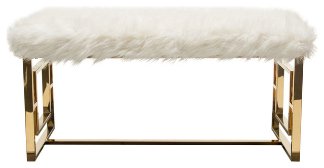 Excellent Audrey Rectangular Bench White Faux Fir With Polished Gold Metal Frame Uwap Interior Chair Design Uwaporg