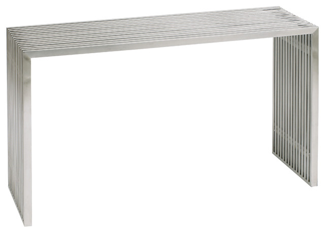 Attirant Amici Console Sofa Table, Silver Stainless Steel
