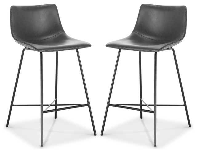 """Poly and Bark Paxton 24"""" Counter Stool, Set of 2, Gray"""