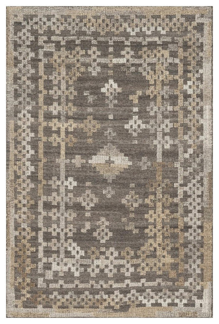 Rustic Aztec Gray Wool Rug