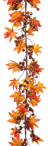 Silk Plants Direct Maple And Berry Garland, Set Of 6.