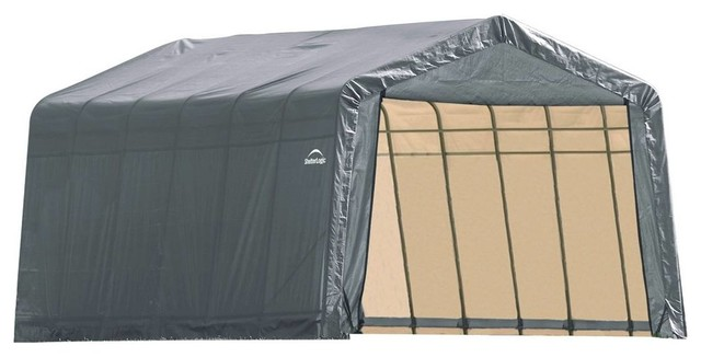13&x27;x24&x27;x10&x27; Peak Style Shelter, Gray Cover