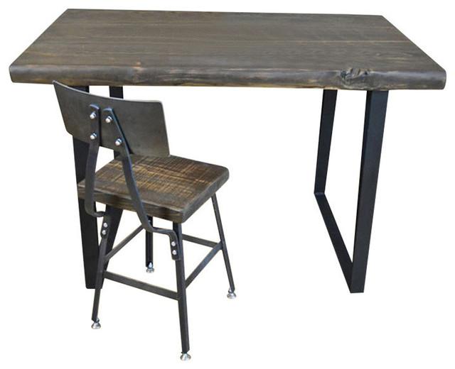 Reclaimed Wood Computer Desk Steel Legs 36x60x30 Clear Coat