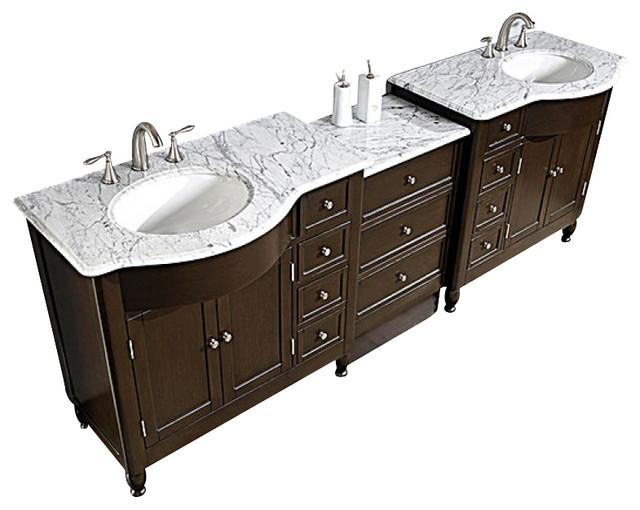 38 Inch Modern Single Sink Bathroom Vanity With White Marble