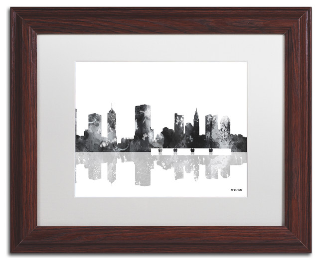 "Watson &x27;columbus Ohio Skyline Bg-1&x27; Art, Wood Frame, 11""x14"", White Matte."
