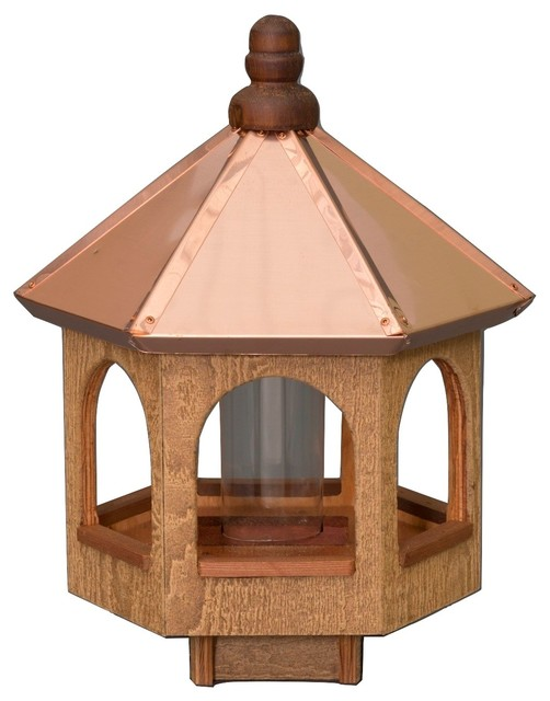 "20"" Copper Top Bird Feeder, Natural Cedar Gazebo Amish Usa"
