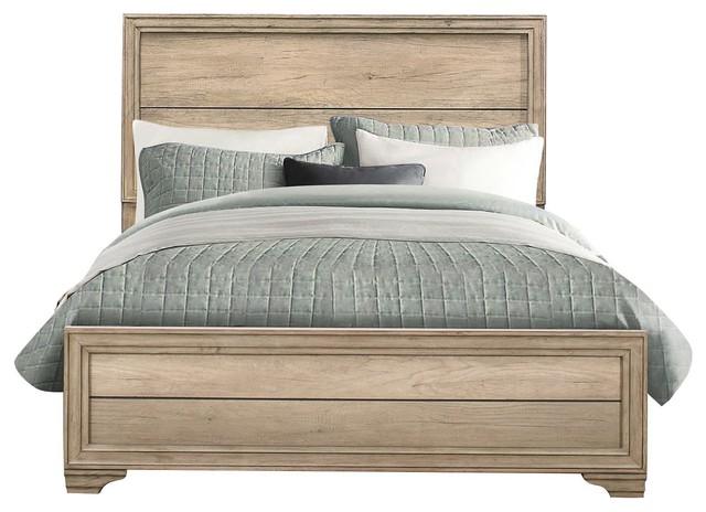 Landen Rustic Queen Bed Sun Bleached, Landen Queen Upholstered Platform Bed