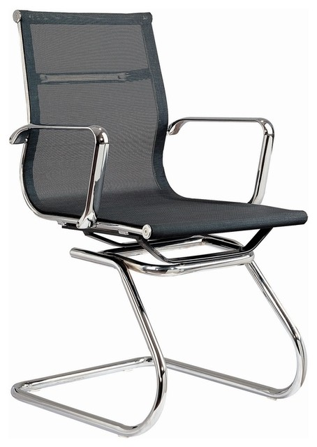 Modern Mesh Visitor Office Chair, Black Mesh Contemporary Office Chairs