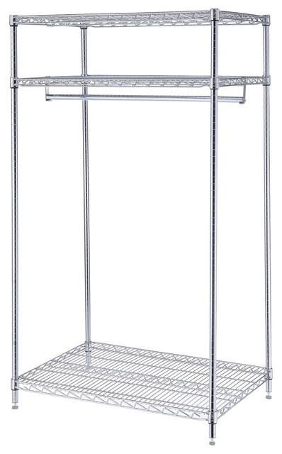 "Nexel 3 Shelf Garment Floor Rack With Chrome Finish, 24""w X 36""l X 74""h."
