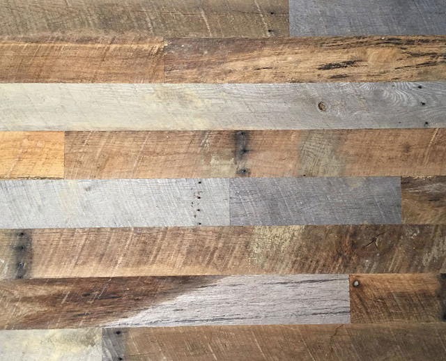 Reclaimed Oak Barn Siding Wall Covering Weathed Gray Antique Brown Mix Sample