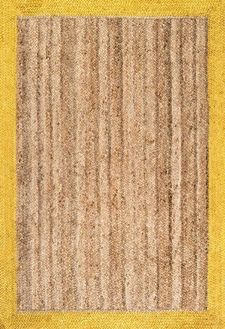 NuLoom Natura Jute Hand Woven Eleonora Gold Rug Farmhouse Area Rugs by