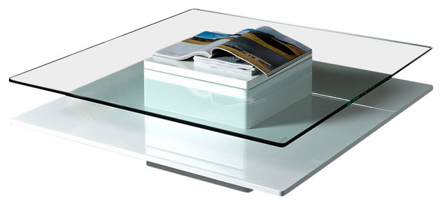 Modrest Emulsion Modern White Glass Coffee Table Contemporary