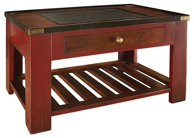 Authentic Models Gallery Shadow Box End Table - Red Multicolor - MF057 ...