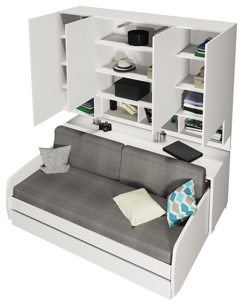 Superieur Compact Sofa And Cabinets Wall System, White, Semi Gloss White