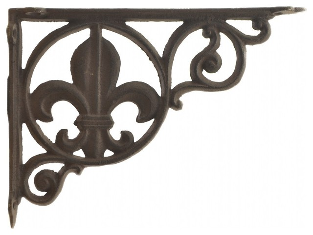 Wall Shelf Bracket Brace, Fleur De Lis Pattern, Cast Iron