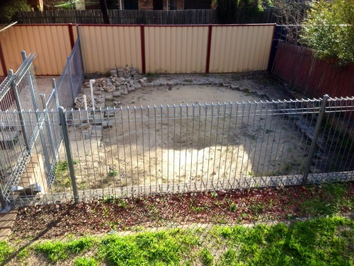 Landscaping old above ground pool area for Above ground pool removal ideas