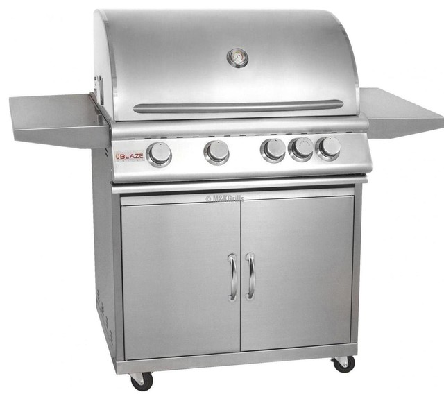"Blaze 32"" 4 Burner W/rear Burner Blz-4-Cart On Cart Grill, Fuel Type: Propane."