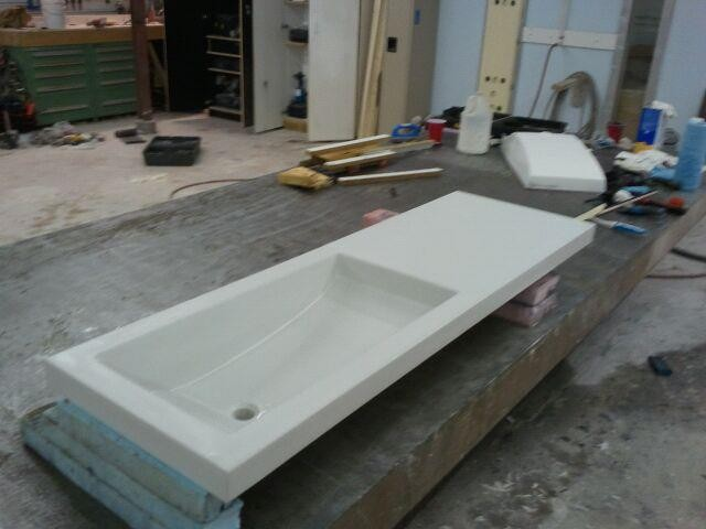 Concrete Countertop With Integrated Sink Contemporary