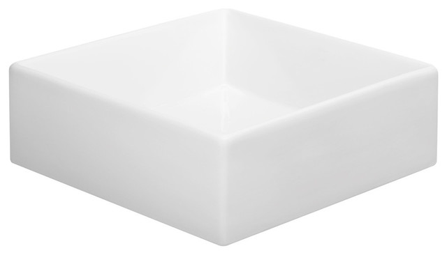 Peine Square Ceramic Vessel, White