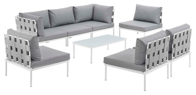 Harmony 8-Piece Outdoor Aluminum Sectional Sofa Set, White Gray