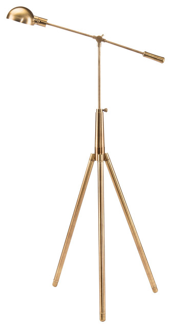 Albertson Industrial Modern Gold Pharmacy Floor Lamp.