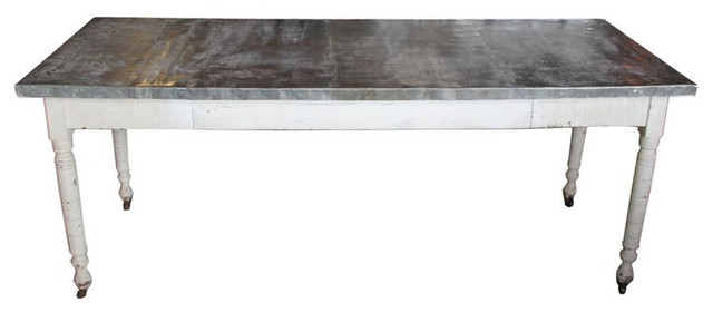 SOLD OUT Industrial Farm Table With Zinc Top  Est Retail - Zinc top dining table