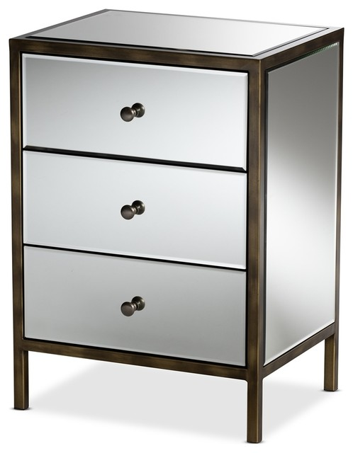 Mirrored Bedside Table With Drawers: Modern Glamour Style Mirrored Three Drawer Nightstand