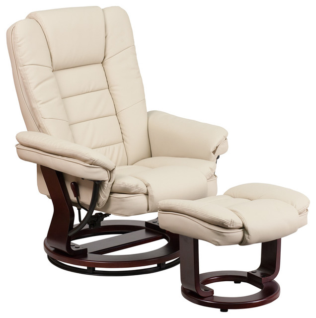 flash furniture leather recliner and ottoman mahogany