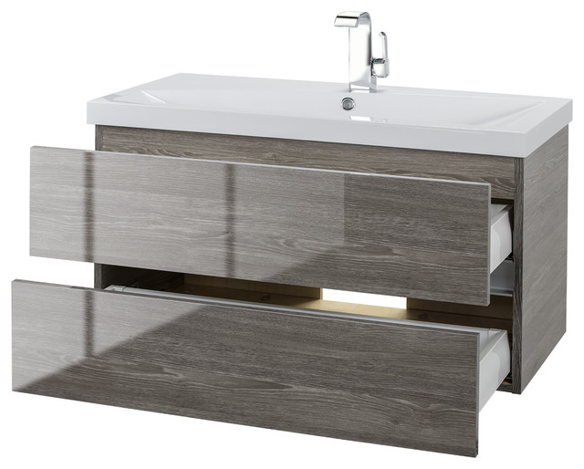 Fossil Oak 36 Wall Hung Gloss Vanity 2 Drawer With Top By Cutler by Cutler Kitchen & Bath