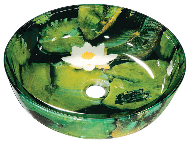 Lily Pads Tempered Glass Vessel Sink.