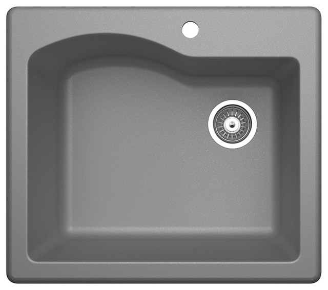 "Swan Granite Single Bowl Kitchen Sink 25""x22"", Metallico"