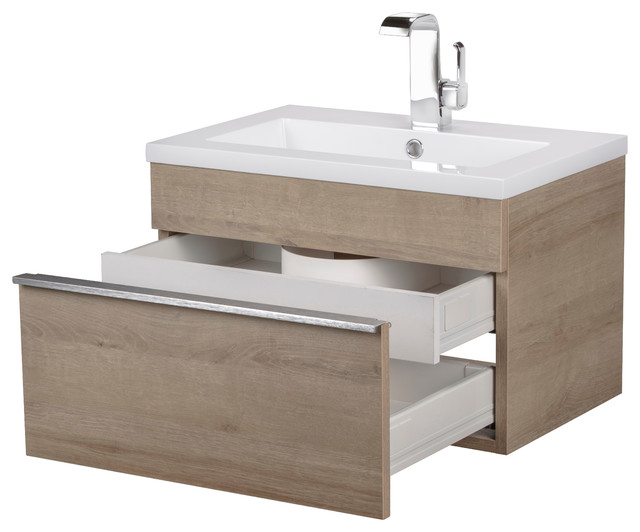 Trough Collection 24 Wall Mount Modern Bathroom Vanity.