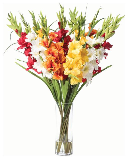 Gladiolus Silk Flower Arrangement Contemporary Artificial Flower