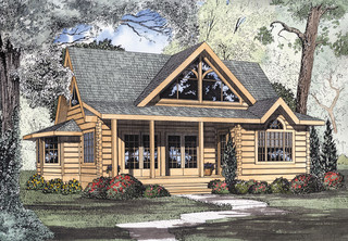 Logan Creek Log Cabin Home Plan 073D-0005 | House Plans and More