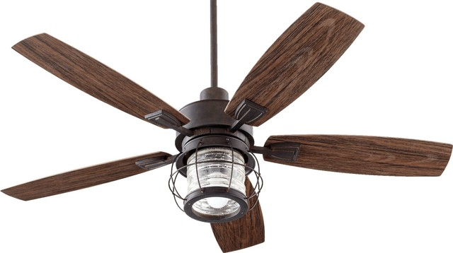 Quorum Galveston Patio 5-Blade Ceiling Fan, Toasted Sienna.