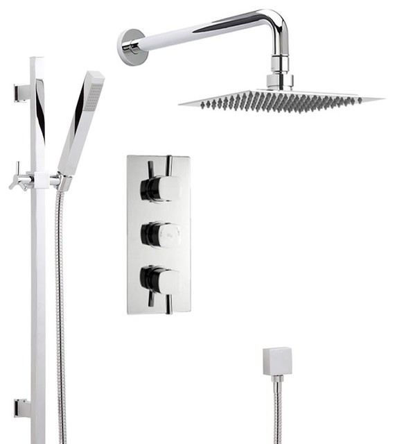 New Thermostatic Shower System With Triple Valve, Rain Fixed Head U0026 Handset    Contemporary   Showerheads And Body Sprays   Other   By Hudson Reed